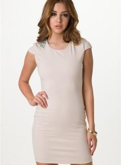 Taupe Dress with Jewel Embellished Shoulders&Cutout Back,  Dress, embellished dress  cap sleeves, Chic #taupe #dress #jewel #embellished #shoulder #cutout #back #cute #trendy #fashion #style #love www.UsTrendy.com