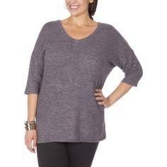 Plus Size Plus Moda Women's Plus Vneck Knit Tee, Size: 4XL, Black