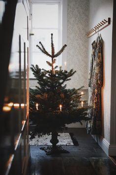 Granen står så grön och kort i stugan Christmas Porch, Prim Christmas, Christmas Morning, Outdoor Christmas, Christmas Greetings, Vintage Christmas, Christmas Decorations, Xmas, Yule