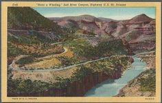 Salt River Canyon Az Road a Winding Vintage Postcard Arizona Linen