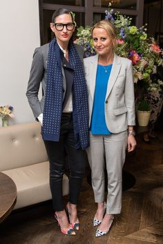 Jenna Lyons, president and executive creative director of J.Crew and film producer Sophie Robinson attend the launch reception of the new J.Crew store at The Botanist