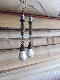 Long dangle earrings - white drop earrings - bohemian earrings -brass, white howlite and glass earrings - brass jewelry - europeanstreetteam
