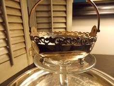 VINTAGE SILVER Petite BASKET with Silver by VintageCreativeAccen, $12.00