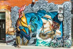 Montreal mural festival of street art, the creative streets of the Quebec province city, Canada on Mallory on Travel adventure, adventure tr...