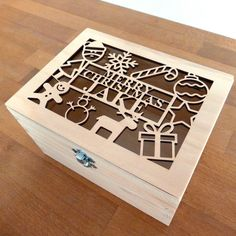 Image of Empty Personalised Christmas Cut Wooden Gift Box NEW (2016)