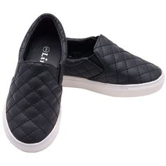 Black Quilted White Rubber Sole Slip-On Sneaker Shoes 11-4 (€24) ❤ liked on Polyvore featuring shoes, sneakers, slip-on shoes, black slip on sneakers, loafer shoes, black flat shoes and flat loafers