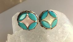 Vintage Native American Inlaid Turquoise, Mother of Pearl and Sterling Silver Round Stud/Post Earrings  Inlaid Button Size Earrings by MagicalUniverse on Etsy