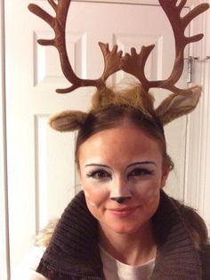 Deer/doe makeup for Halloween - couples costume, with guy being the hunter. Deer carries the gun ;)