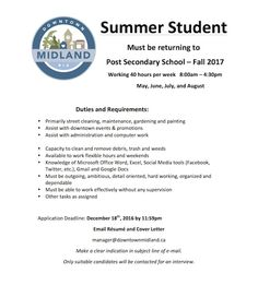 All students attending post secondary in Fall 2017......WE'RE HIRING!  #DowntownMidlandON