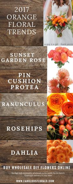 2017 orange wedding flower trends! http://www.fabulousflorals.com The DIY bride's #1…