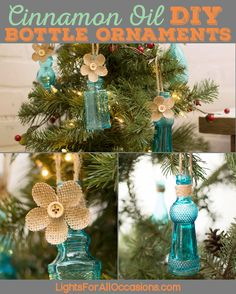 DIY mini cinnamon oil vintage bottle Christmas ornaments #diy #diychristmas #diychristmasornaments #vintagechristmas