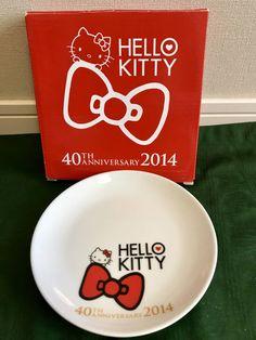 HELLO KITTY LAWSON 40th Anniversary Glass Plate 2 Set 16cm Japan 2014 New