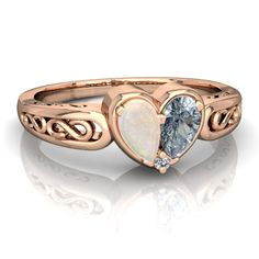 Opal Filligree Heart 14K Rose Gold ring R5070 - front view