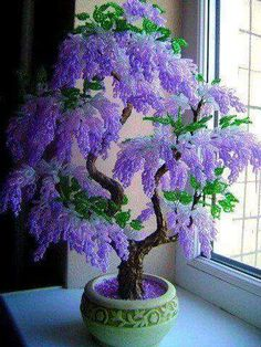 A Gorgeous Beaded Bonsai (I think these are beads, pretty) A Gorgeous Bonsai that looks too perfect to be Real, but I still love it all the same. What a gorgeous tree or bush, lucky if you have one of those . Beautiful Bonsai in Bloom Love this seed bead Wisteria Bonsai, Jade Bonsai, Bonsai Garden, Bonsai Trees, Juniper Bonsai, Flowering Bonsai Tree, Bougainvillea Bonsai, Indoor Bonsai Tree, Purple Flowers