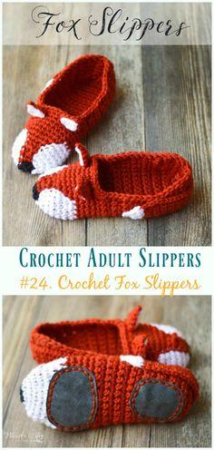 62 Best Ideas For Knitting Slippers Free Pattern Crochet Socks Crochet Gifts, Crochet Baby, Knit Crochet, Crochet Braids, Single Crochet, Crochet Slippers, Fox Slippers, Slipper Boots, Crochet Patron
