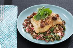 Seared Cod & Date Vinaigrette with Browned Butter, Quinoa & Spinach ...