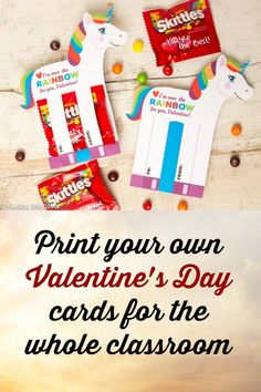 Print out your own cards for your kids to carry to school.  Rainbow Unicorn Valentines Printable DIY Instant Download Skittles Colorful Candy holders horse shaped Valentine's day cards for school #diy #printable #valentines #school #ad