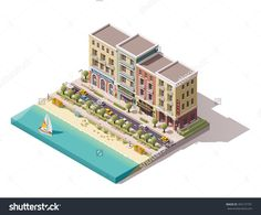 Vector Isometric icon or infographic element representing low poly old town street with tourism related buildings, stores, sea beach and yacht boat passing by