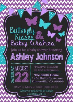 Purple & Teal Butterfly Baby Shower Invitation - Digital JPG Copy