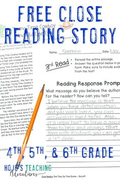 """Check out this FREE Close Reading story from the """"old days"""". A South Dakota cowboy shares the tale of how he and his dog caught an old bull. It's a great reading activity to keep your 4th, 5th, or 6th grade upper elementary or middle school students engaged in their reading. Use it as a literacy center, ELA station, review, or test prep. It could also work as homework. Grab this freebie today! (fourth, fifth, sixth graders, Year 4, 5, 6) #Reading #HoJoTeaches Middle School Reading, 4th Grade Reading, Free Teaching Resources, Classroom Resources, Teaching Ideas, 6th Grade Ela, Third Grade, Close Reading Strategies, Teaching Reading"""