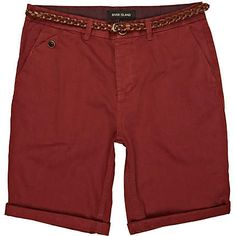 Red belted roll up shorts - chino shorts - shorts - men