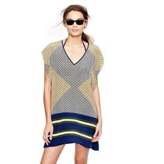 J crew j crew silk abstract diamond swim cover up Like new! No trades or offline transactions. Reasonable offers via offer option only. T J. Crew Tops