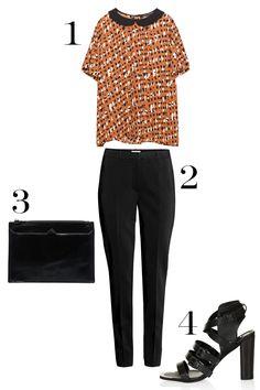 1. Zara Combination Printed Top, $22.99 (was $49.90); zara.com. 2. H&M Suit Pants Slim Fit, $20 (was $34.95); hm.com. 3. Pull&Bear Zip Top Clutch Bag, $29.33; asos.com. 4. Topshop Potential Premium Shoes, $70 (was $170); topshop.com.   - MarieClaire.com