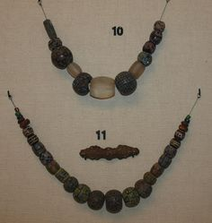 Viking age beads found in graves at Nordland, Norway. Displayed at the Trondheim Museum.