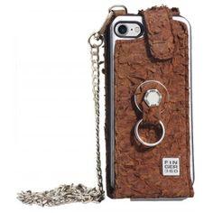 Funda iPhone 8 elegante piel de tilapia marrón. Finger 360 #funda #tilapia #anticaidas #anillo #Finger360 #piel #marron #8 #iphone8