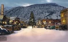 Christmas in Glenwood, Colorado, 1949. COLORIZED