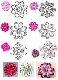 Flores con gráfico crochet Más