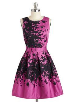 Make the Rounds Dress in Fuchsia Bouquets, #ModCloth
