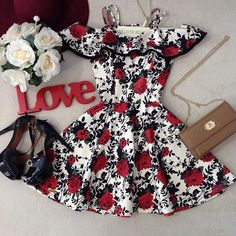 Red and black❤️🖤 Pretty Dresses, Sexy Dresses, Beautiful Dresses, Dress Outfits, Casual Dresses, Short Dresses, Girl Outfits, Fashion Dresses, Prom Dresses