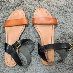 Brown & black sandals Brown & black strappy sandals. Adjustable ankle strap. Mossimo Supply Co. Shoes Sandals