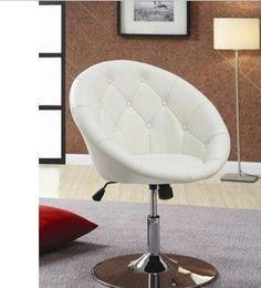 Swivel Back White Chair Oval Leather Executive Computer Desk Office Home Decor!  #Coaster #TYPConnections
