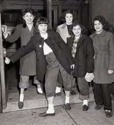 "Chicago 1946 - A Group Of Girls Being Sent Home From McKinley High School For Wearing ""Dungarees"" And ""Slickers"""