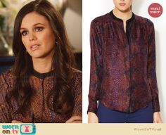 Zoe's purple snake printed blouse on Hart of Dixie.  Outfit Details: http://wornontv.net/30117/ #HartofDixie