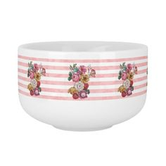 Girly Pink Vintage Stripes Colorful Roses Soup Bowl With Handle