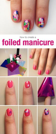 How to Create a Colorful Foil Manicure #nails
