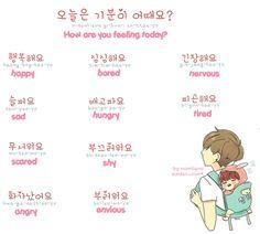 ❋learn korean - how are you feeling today? (hoonsena.tumblr.com)