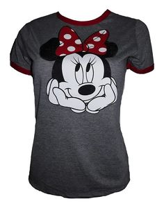 f714cb84 $15.99 - Disney Mickey Minnie Mouse Womens Juniors Assorted Crewneck Ringer  Shirts Heather Gray/Red #disney