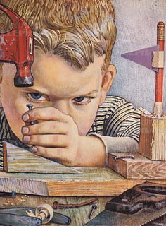 """This is totally Willie trying to be like his older brother. [John Falter """"Boy Hammering Nail""""]"""