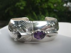 Carol Felley Signed Sterling & Amethyst Orchid Bracelet Cuff-Great Condition #CarolFelley #Cuff