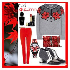 """""""red autumn"""" by karen-lynn-rigmarole ❤ liked on Polyvore featuring Lee, STELLA McCARTNEY, Alberto Guardiani, Yves Saint Laurent, Swatch, Guerlain, Giorgio Armani and redautumn"""