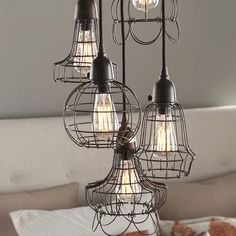 The bulb does not come with the pendant. The vintage charm of five wire basket cages, each shaped a little differently, creates a hanging lamp that is a perfect accent for the home. A cloth-wrapped Modern Farmhouse Lighting, Farmhouse Pendant Lighting, Farmhouse Light Fixtures, Farmhouse Decor, Farmhouse Homes, Farmhouse Furniture, Kitchen Lighting, Farmhouse Style, Led Lantern