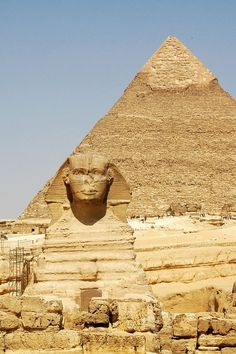 The Sphinx and the pyramid of Cheops at Giza, Cairo, Egypt