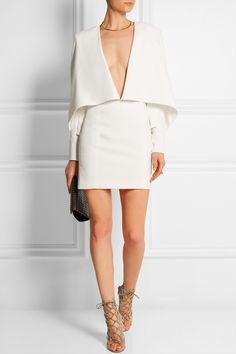 Balmain | Cape-effect crepe mini dress | NET-A-PORTER.COM (KIRSTEN)