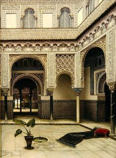 The stunning intricacies of Moorish/Moroccan architecture can be appreciated in this beautiful shot of a Riad courtyad. #Luxury #Moorish #Decor.