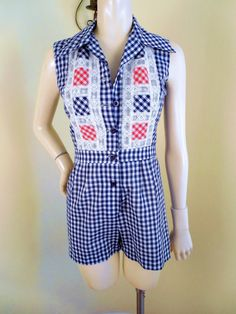 vintage womens rhompers | Vintage Womens 2 Piece Romper Playsuit with cover Skirt in Gingham ...