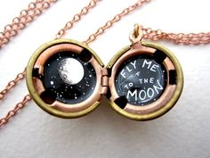 Oil-Painted Locket, Fly Me to the Moon Necklace, One of a Kind . Oil-Painted Locket, Fly Me to the Moon Necklace, One of a Kind Miniature Painting with Full Moon Cute Jewelry, Jewelry Box, Jewelry Accessories, Jewelry Ideas, Moon Necklace, Locket Necklace, Diamond Are A Girls Best Friend, Gems, Bling